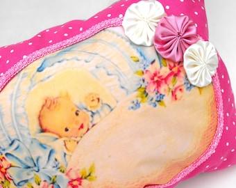 Baby Girl Nursery Pillow Handmade Pink Polka Dot Bed Cushion Shabby Chic Child's Room Decor Bassinet Crib Pastel Satin Rosette Bedding Gift