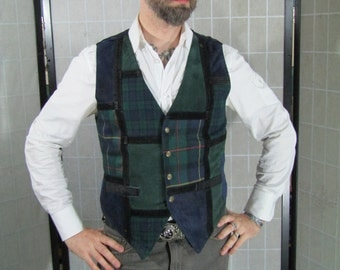 Tweed & Leather Patchwork Waistcoat, Vest, Steampunk Gentleman.