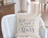Natural Cotton Pillow Cover 18X18 Faux Linen Kiss Me Under the Light of a Thousand Stars Quote Ed Sheeran Lyrics