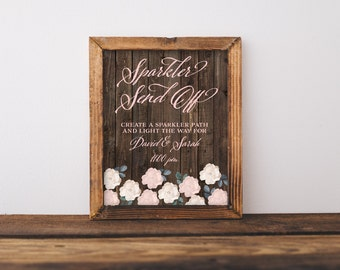 "Custom Sparkler Send Off Sign 8x10"" DIY Wedding Signage Poster... Woodgrain & Roses Design"