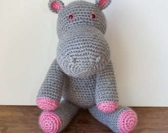 Hippo Plush, Crochet Hippo Stuffed Animal, Handmade Amgurumi, Baby Shower gift, Baby Nursery Decor - Made To Order - Pink and Gray