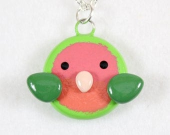 Peach-Faced Lovebird Necklace - Polymer Clay Necklace - Lovebird Jewelry - Lovebird Pendant - Bird Necklace - Bird Jewelry - Kawaii Lovebird