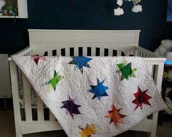 Rainbow Wonky Star Quilt, Baby Blanket, Crib Quilt, Toddler Blanket, Snuggle Quilt, Security Blanket, Throw Blanket, Travel Blanket