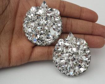 Round Crystal Cluster Earrings, Statement Earrings, Crystal Bridal Studs, Wedding Gift Earrings, Large Crystal Studs, Crystal Earrings