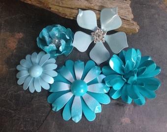 Blue Enamel Flower Brooch Lot 5 Turquoise Powder Blue Metal Flower Pins Flatbacks Aqua Wedding Bouquet Broaches Light Blue Enamel Pins FLOT2
