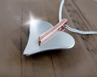 Silver and Copper Heart Necklace, Copper and Silver Heart Pendant, 7th Wedding Anniversary Gift, 7th Wedding Anniversary Necklace, Hearts