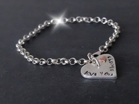 Personalised Silver Bracelet with Heart, Valentines Day Gift, Mother Daughter Bracelet, Silver Bracelet with Initials, 7th Anniversary Gift