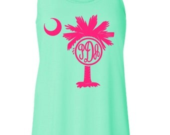 Monogram Palmetto and Moon Racerback Tank, South Carolina Palm and Moon Monogram Tank, Personalized Palm Tree Tank Top
