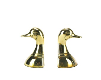 Vintage Brass Duck Bookends - Mid Century Mallard Office Library Decor - Gold Animal Bust Mantel Decor - Brass Bird Statue Hollywood Regency