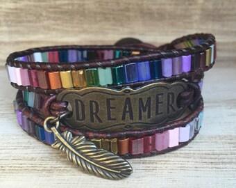 Dreamer Wrap Bracelet, Multicolored Bracelet, Triple Wrap Bracelet, Bohemian Bracelet