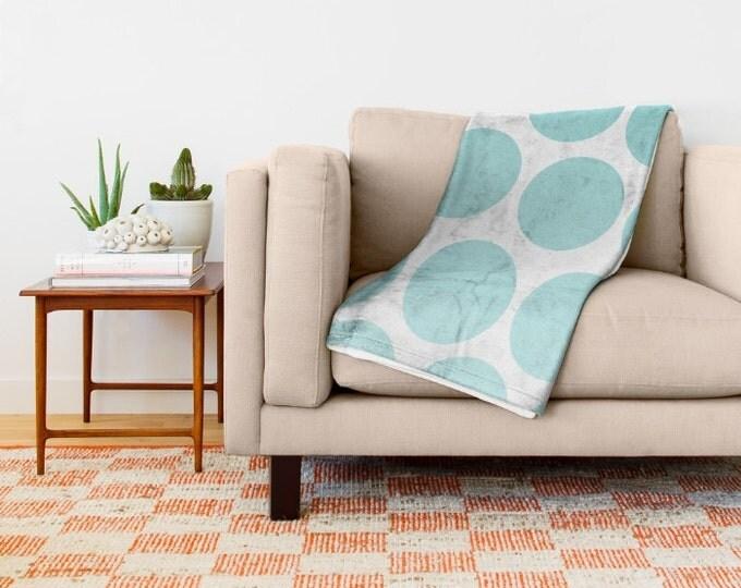 Blue Polka Dot Fleece Throw Blanket - Bedding - Polka Dot Art - Fleece Throw Blanket - Made to Order