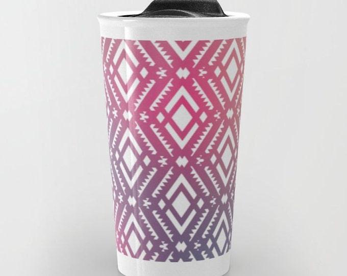 Pink Tribal Print Travel Mug Ceramic - Coffee Travel Mug - Hot or Cold Travel Mug - 12oz Travel Mug -Made to Order