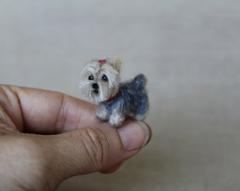 Yorkshire terrier needle felted dog-red bow- dollhouse miniatures-1 Inch-1:12 scale-Ooak- Wool sculpture-Collectible artist animals- yourkie