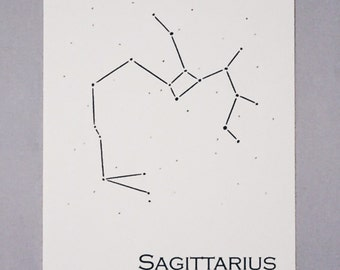 Sagittarius Constellation Zodiac Sign Art Print 5x7 / Pen and Ink Print Reproduction / Wall Art / Home Decor / November - December Birthday