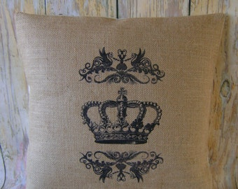 """Crown Scroll - 16"""" Hessian Jute Burlap cushion/pillow cover Vintage shabby chic country UK handmade"""