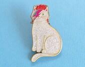 David Bowie Cat Enamel Pin -  cat  enamel pin - Halloween enamel Pin - lapel pin hat pin