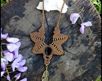 Tribal native macrame crystal necklace. Earthy macrame jewerly. Black onyx gemstone Handmade by Bella Marietta