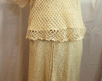 Vintage Handmade Crocheted Skirt and Top