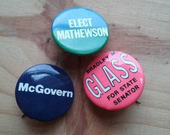 1930s-70s  Retro Republican Election Pins Lot of Three Illinois State Senator Mathewson Glass McGovern Punk