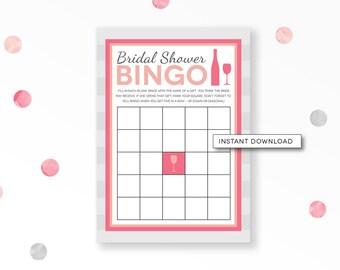 Bridal Shower Bingo, Wine Bridal Shower, Cocktail Shower, Bridal Shower Game, Bridal Bingo Cards, Pink Bridal Shower, INSTANT DOWNLOAD, #22