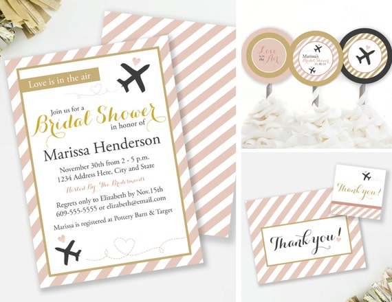 Travel Bridal Shower Invitation Set Travel Thank You Cards