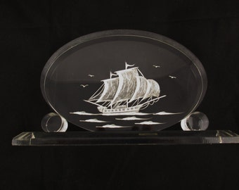 A Clear Lucite Oval With Sailing Ship in 3-D  - Reverse Carved - Birds and Water - Kitsch and Cool - Desk Accessory - Sailing - Hand Carved