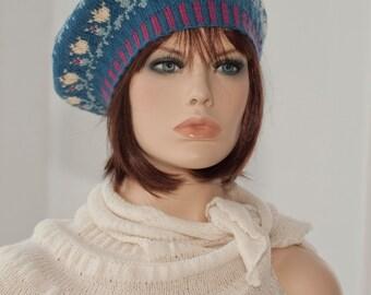 Hand knitted fair isle beret, fair isle tam, jacquard beret, motifs of roses, indigo, yellow, green colors, woolen beret.