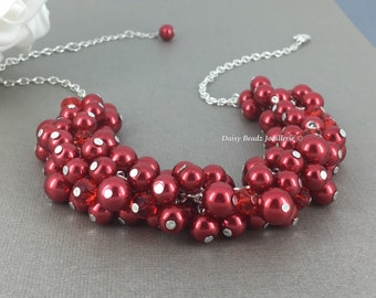 Red Necklace, Red Pearl Necklace, Bridesmaid Jewelry, Chunky Jewelry, Christmas Jewelry