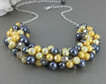 Shades of Yellow and Grey Necklace, Yellow, Necklace, Bridesmaids Gift, Bridesmaids Necklace, Chunky Necklace, Pearl Beaded Necklace, Prom