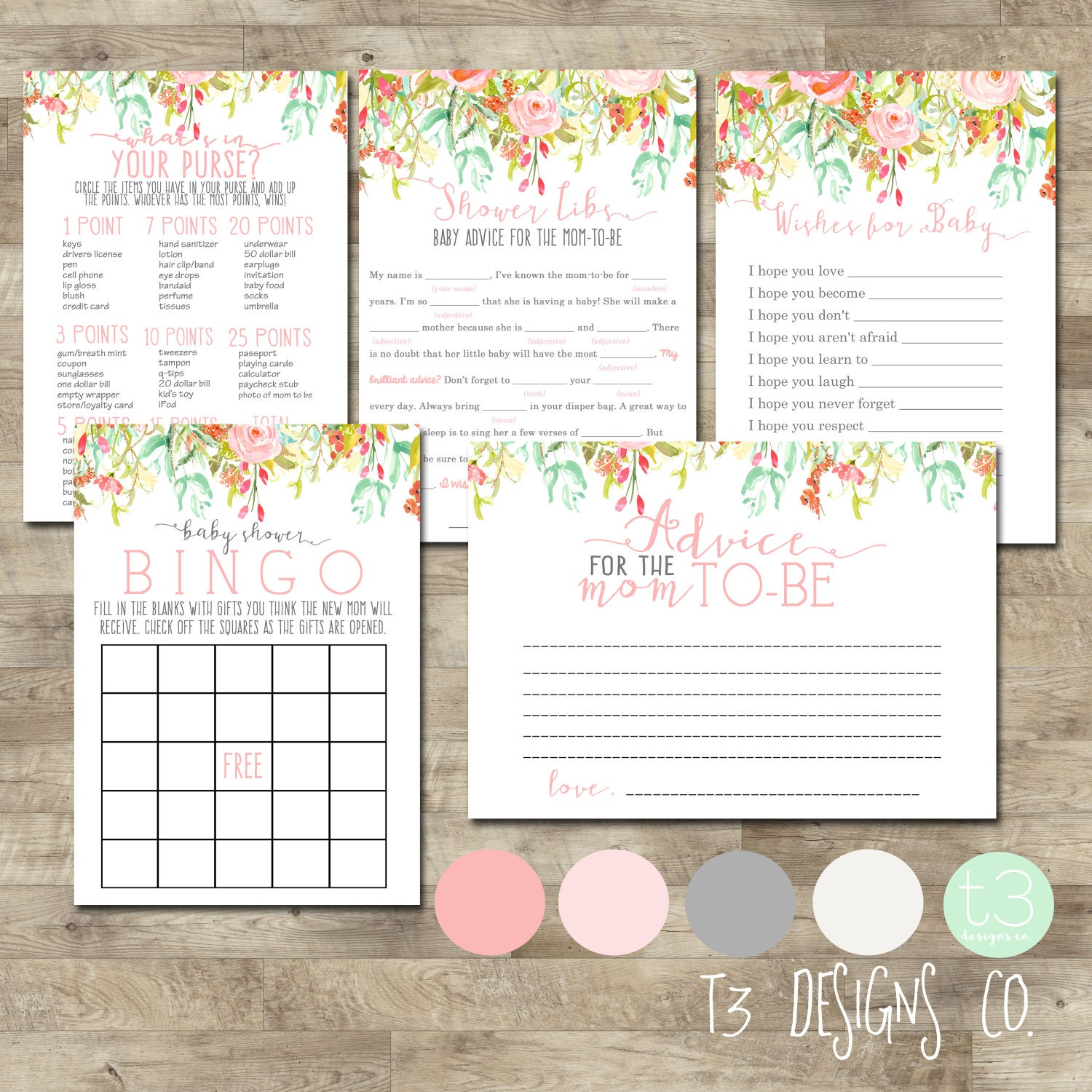 Floral Baby Shower Games Baby Shower games package printable