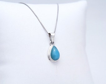 Larimar Pendant, Little Drop, Blue Larimar Stone, Gifts Under 30
