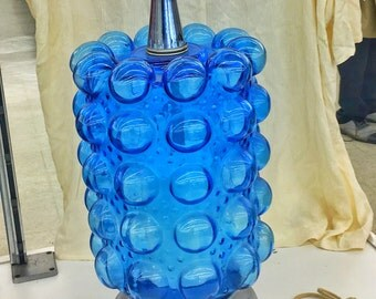 Mid Century Modern Blue Art Glass And Chrome Bubble Glass Table Lamp In  Blenko Style