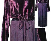 Vintage Purple Velveteen Dress with Rayon Skirting and Drawstring Waist 1970's - Fits Size Medium to Large