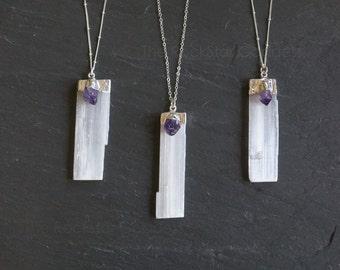 Selenite Necklace / Selenite Pendant / Amethyst Necklace / Silver Selenite Necklace / Raw Selenite Necklace / February Birthstone