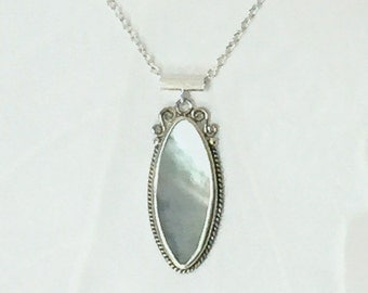 Mother-of-Pearl and Sterling Necklace