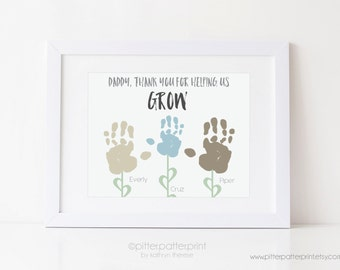 Dad Gift Father's Day Personalized Handprint Flower Art Print, Gift for Daddy, Father, Thank You For Helping me Grow 8x10 or 11x14