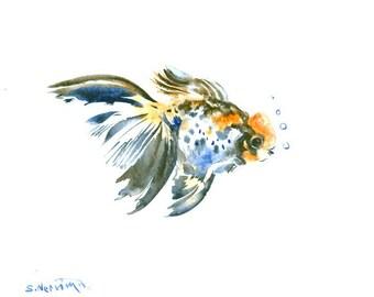 Goldfish original watercolor painting 10 X 8 in