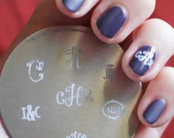Custom Monogram Initials Nail Stamping Plate. Handmade Nail Art Stamp Plates, Personalised, Gift for Mom, Nail Art Lover, Daughter, Sister