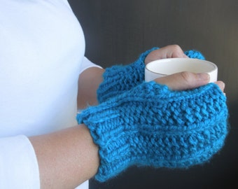 Teal Fingerless Gloves / Wrist Warmers / Fingerless Mittens / Knit Gloves / Mitts