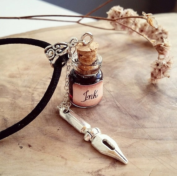 ink well bottle necklace tattoo artist necklace gifts for ForGifts For Tattoo Artist