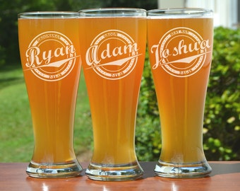 Personalized Groomsmen Gifts, Beer Glasses, Wedding Toasting Glasses, Pint Glasses, 2 Custom Beer Mugs, Gifts for Groomsmen, 16oz Glassware