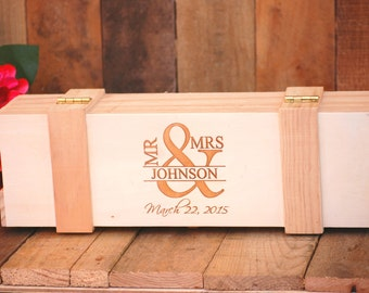 Custom Wedding Engagement Wine Box, Ceremony Keepsake, Rustic Wedding Gift Box for Couples, Custom Engraved Anniversary Gift