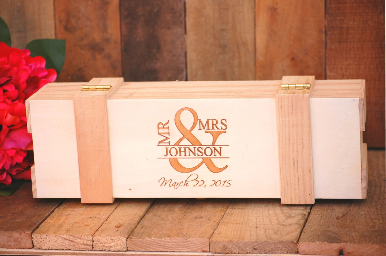 Wine Box Personalized Wedding Ceremony Couples Gift Champagne Bride And Groom Mr Mrs His Hers Set Honeymoon