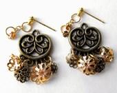 MIXED GOLD Ear Jacket Earrings-Jacket Earrings, Two Piece Earrings, Vintage Gold Earrings, Filigree Earrings, Fringe Earrings, Dangle