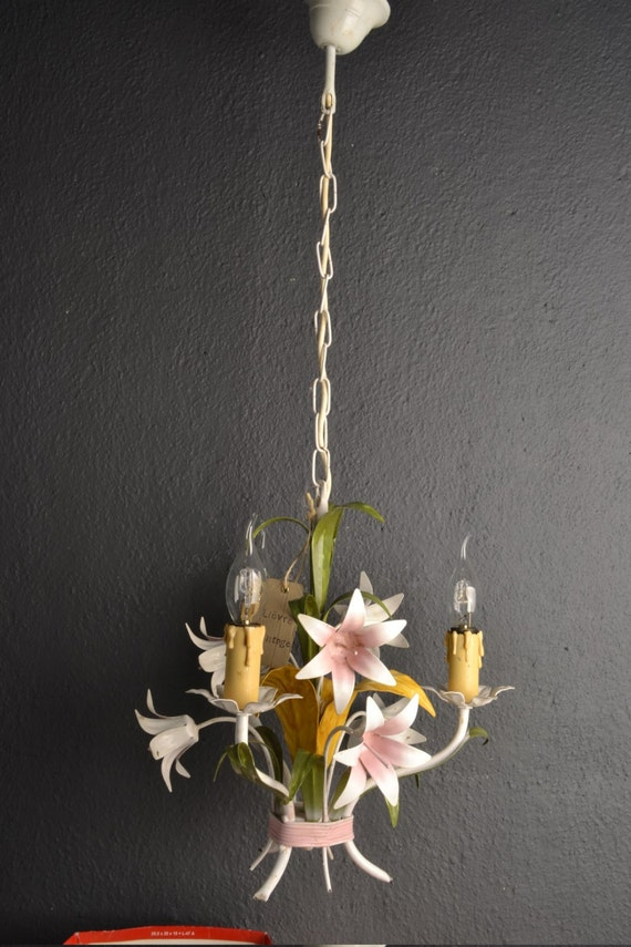 French tole Flower Chandelier around 1950