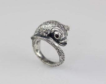 Koi Fish Ring Sterling Silver Ring Koi Jewelry Garnet Eyes Birthstone Jewelry