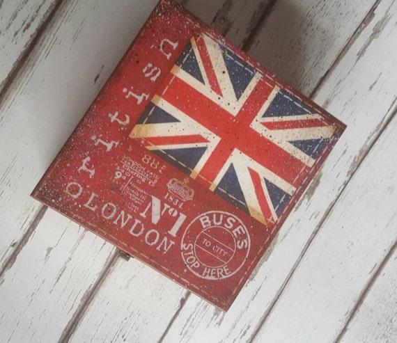 5 o'clock Tea Time Box, wooden tea caddy, vintage London design kitchen decor,storage,4compartments trinket box.British, English,union jack