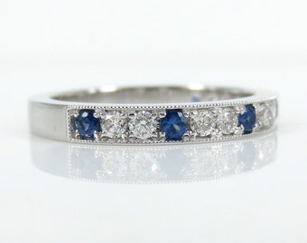 2.7 mm Half-set Diamond & Sapphire Band Milgrain Edges 18k White Gold