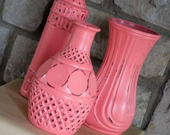 Vintage Painted Glass Vases, SHABBY CHIC VASES, Coral Vases, Wedding Vases