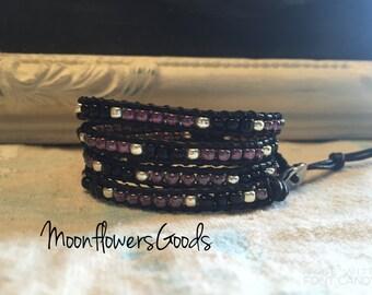 Boho Leather Wrap Bracelet, Leather Wrap Bracelet, Wrap Bracelet